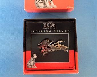 Vintage Sterling Silver 101 Dalmatians Dog puppy pin brooch with ORIGINAL BOX. Disney original