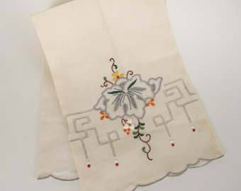 Hand embroidered vintage hand towel. Grey border and fine embroidery on off white. Romantic decor.  #mck11