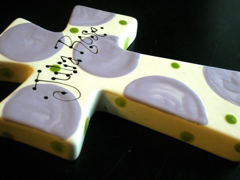 Children/'s Hand Painted Ceramic Cross Great Baptism Christening or Shower Gift