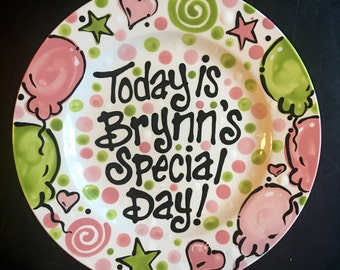 Personalized Pink and Green Birthday Plate or Special Occasion Plate to Celebrate
