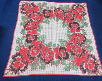 Vtg midcentury pansy hankyhandkerchief excellent condition shaped rolled hem