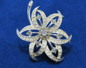 Vintage Flower Brooch Clear and Grey Rhinestones Costume Jewelry
