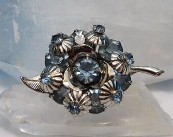 Vintage Flower Brooch with Pale Blue Rhinestones