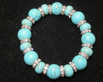 Stretchy Beaded Bracelet Faux Turquoise Beads with Rhinestone Spacers