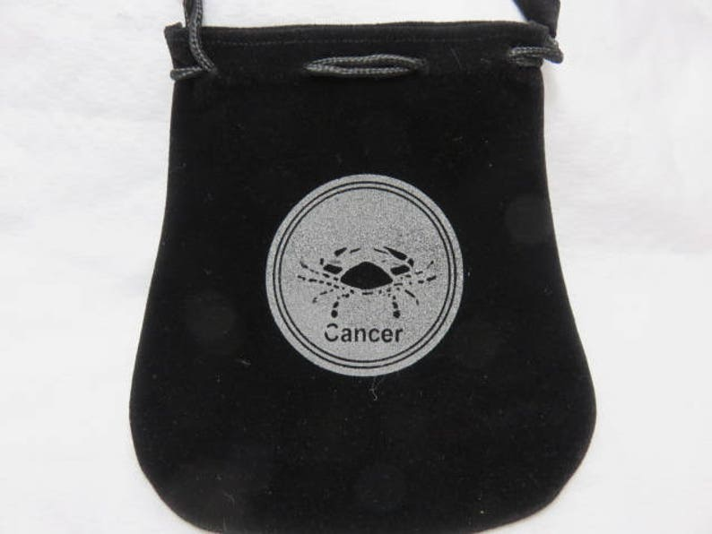 Cancer Zodiac Velvet Bag with draw Strings for Healing Stones Healing Crystals and Talismans