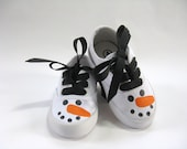 Snowman Shoes with Hand Painted Faces on White Canvas Sneakers for Baby and Toddler