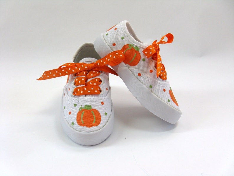 a453e427fbb96 Pumpkin Shoes, Thanksgiving Sneakers Hand Painted for Baby or Toddlers,  Autumn or Fall Outfits