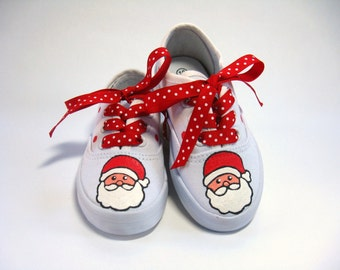 Santa Claus Shoes, Christmas Outfit,  Red and White Hand Painted Sneakers for Baby and Toddler