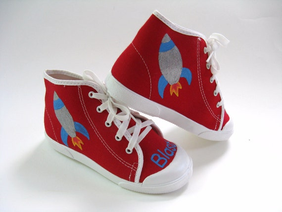 0bf2dc06cee87 Rocket Ship Shoes, Red Hi Top Spaceship Sneakers Hand Painted for Baby and  Toddler