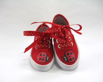 Ladybug Shoes, Red Canvas Sneakers Hand Painted for Babies and Toddlers