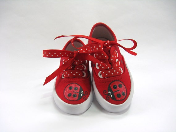 Ladybug Shoes Red Canvas Sneakers Hand
