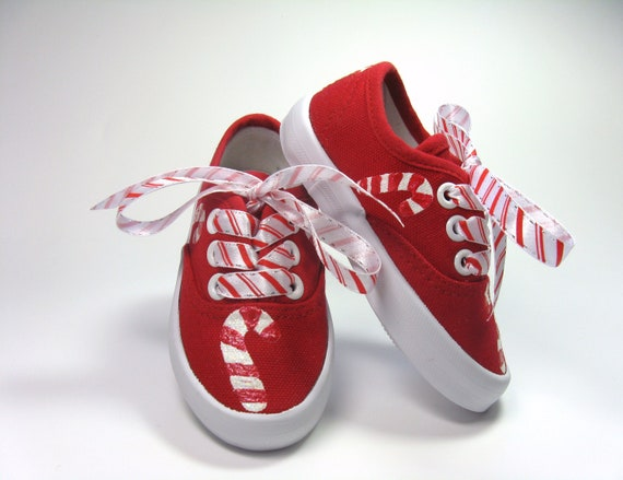 27a211a23bd6 Candy Cane Shoes Christmas Sneakers Hand Painted for a Baby