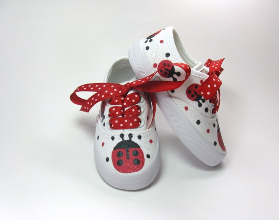 Red Ladybug Shoes Hand Painted Birthday