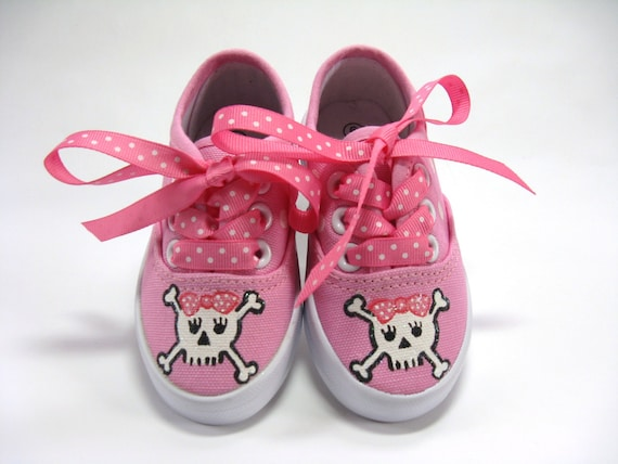 344cba4bafaa1 Pirate Shoes, Skull and Crossbones on Hot Pink Sneakers Hand Painted for  Babies or Toddlers