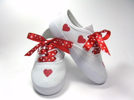 Valentine Shoes with Red Hearts on