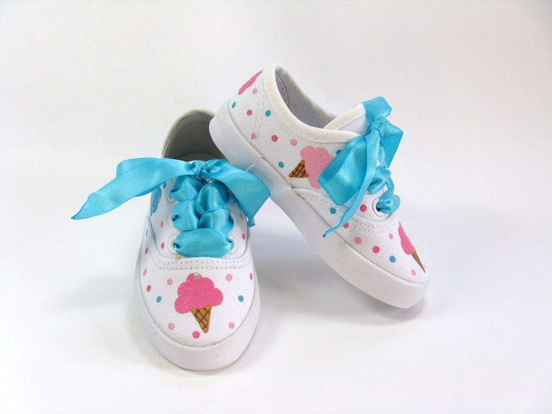 Ice Cream Shoes Birthday Party Sneakers Hand Painted for Baby  31efe2e384b4