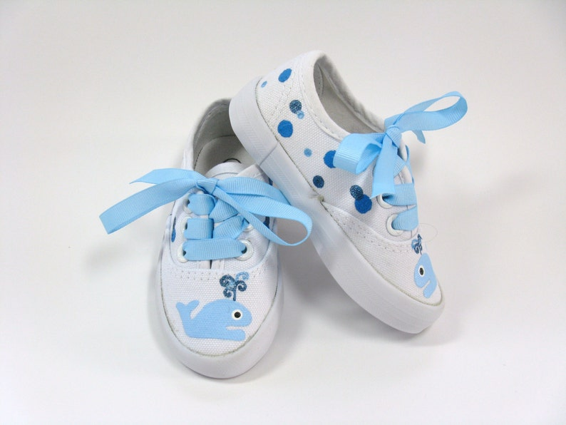 29408a199c321 Blue Whale Shoes, Ahoy It's a Boy Baby Shower or Birthday Sneakers for Baby  or Toddler