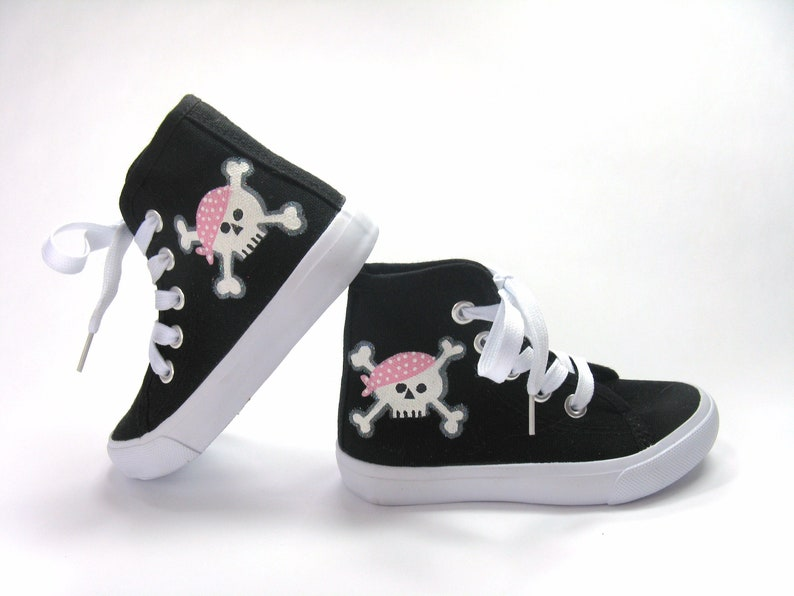 dd5b95adf8746 Pink Pirate Shoes, Hand Painted Skull and Crossbones on Black Hi Top  Sneakers for Baby or Toddler