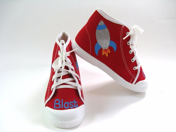 Rocket Ship Shoes Red Hi Top Spaceship