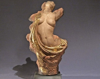 Architecture, brick female ceramic figure sculpture, Venus fragment