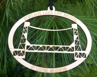 Portage Lake Lift Bridge Houghton MI Michigan Wood Ornament