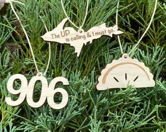 """Mini Wood Ornament Set - """"The UP is Calling"""", Pasty, and """"906"""" Area Code -  Michigan's Upper Peninsula Small Decorations"""