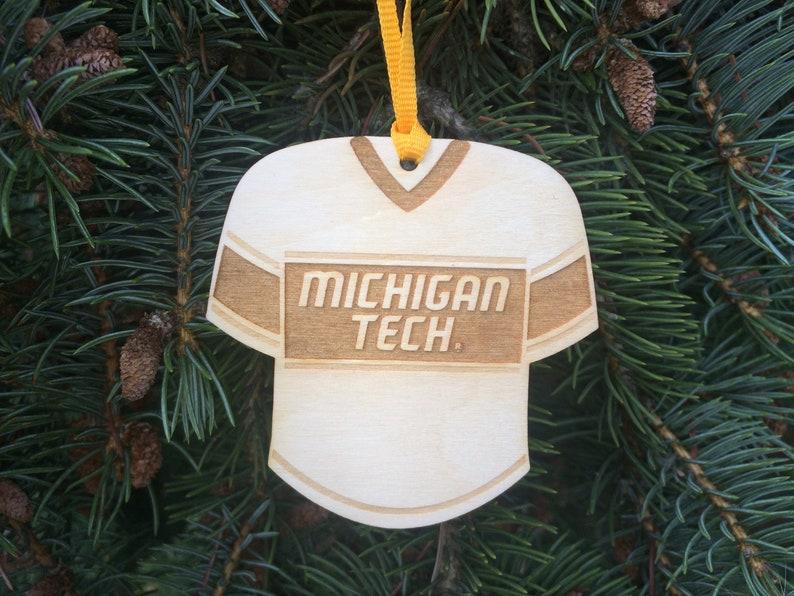 huge selection of e7c70 a1155 Michigan Tech Huskies Sports Jersey MTU Houghton MI Ornament Baltic Birch  Wood