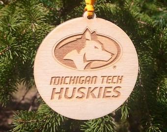 Michigan Tech Huskies Athletic Sports Logo MTU Houghton MI Wood Ornament