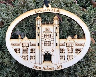Lawyers Club University of Michigan Ann Arbor MI Law Quad Architecture Wood Ornament