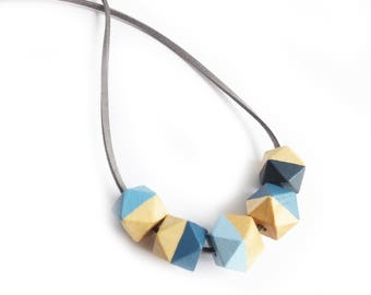 Blue Hexagon Necklace, Half Painted, Wooden Jewellery and Necklaces, Blue Necklace, Geometric Teething Necklace