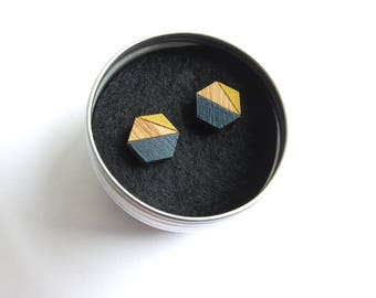 Hexagon Earrings, Geometric Earrings, Hexagon Jewellery, Geometric Stud Earrings, Navy and Mustard, Navy Geometric Earrings, Gift For Her