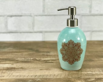 Ceramic soap dispenser: aquamarine soap dispenser porcelain soap dispenser turquoise bathroom accessory mandala pattern brushed nickel pump