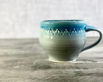 Handmade pottery mug // grey ceramic mug, 11 ounce mug, unique pottery mug, one of a kind mug, 3 finger mug with stamped pattern