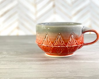 Porcelain mug red and grey // red and grey ceramic mug with hand stamped pattern, 11 ounce mug, red kitchen, gift for tea lover, unique mug