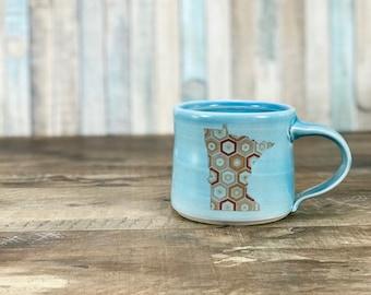 Minnesota mug. Handmade pottery mug. Made in Minnesota. Blue glazed. MN state mug. Honeycomb pattern. Minnesota gift. State gift. Blue mug.