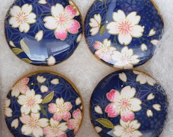 Chiyogami Glass Magnets, Cherry Blossoms on Blue, Set of 4 Magnets, Office Magnets, Glass Magnets, Refrigerator Magnets, House Gift