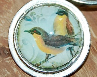 Bird Keychain, Bird Glass Keychain, Silver Dome, Keychain, Glass Bird Keychain, Keyholder, Keyfob, Bird Gift, Birdlover, Key Chain, Bird