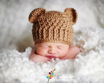 PDF Crochet Pattern - Teddy Bear Hat (sizes Newborn to 12 months) e8695e6dec3