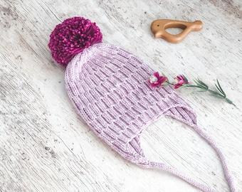 Baby Hat, Knit Hat, Pom Pom Hat, Baby Christmas Gift,