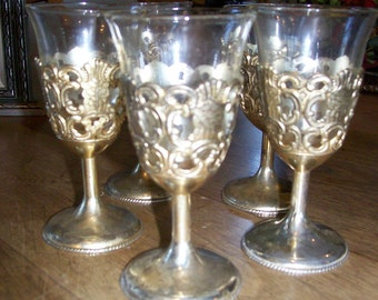 Vintage Raimond Silver Plate Small Goblet Holders with Glass Inserts