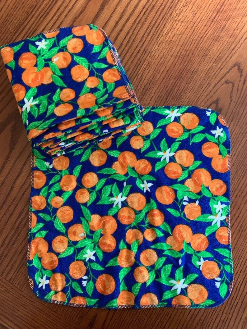 14\u201d size Set of 12 Flannel Blue Orange Napkins