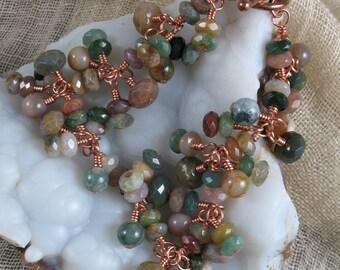 Gemstone Bracelet ~ Faceted Fancy Jasper Copper Bracelet ~ Handmade Bracelet
