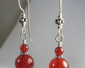 Gemstone Earrings ~ Orange Carnelian & Sterling Silver Handmade Earrings ~ Drop Earrings