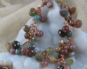 Gemstone Bracelet ~ Fancy Jasper & Copper Handmade Bracelet ~ Cha Cha Bracelet