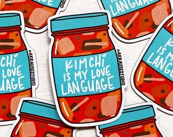 Kimchi is My Love Language Magnet, Kimchi Refrigerator Magnet, Korean Food Art, Korean American Magnets