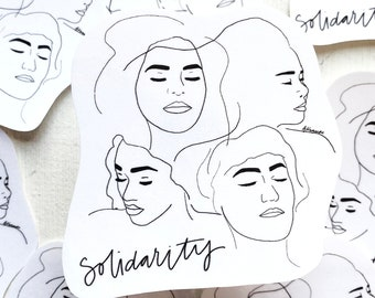 Solidarity Stickers, Hand Cut Racial Solidarity Art Sticker, Minimal Line Drawing Art, Laptop Decal Sticker