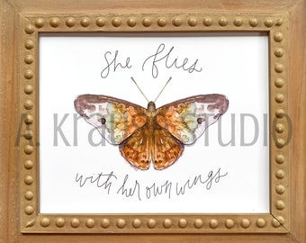 She Flies With Her Own Wings Butterfly Art Print, Original Watercolor Nature Art Prints, Hand Letter Hackberry Butterfly Watercolor Artwork
