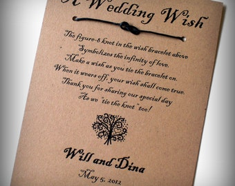 The Love Tree - A Wedding Wish - Infinity Knot Wish Bracelet Wedding Favor Custom Made for You