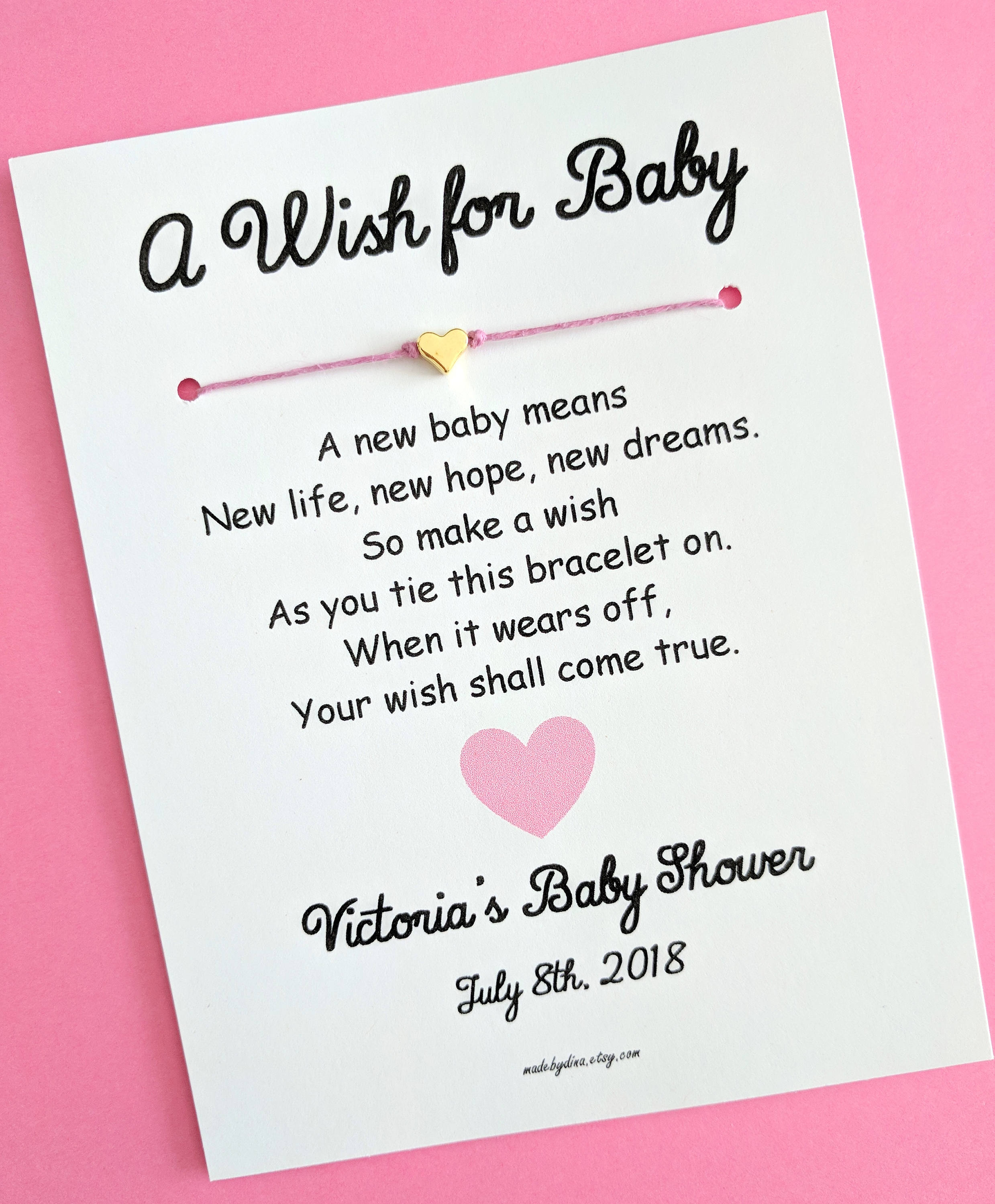 A Wish For Baby Love And Hearts Theme Wish Bracelet Party Etsy