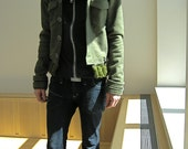 Army Green Wool Felt Military Jacket
